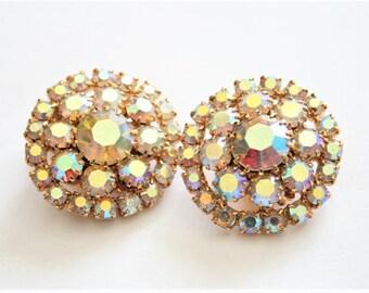 Vintage crystal earrings.  Clip on earrings. Rhinestone earrings. Vintage jewellery. Aurora borealis earrings