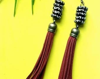 Red tassel earrings//Summer statement bohemian earrings//black and white bone earrings// The Alli