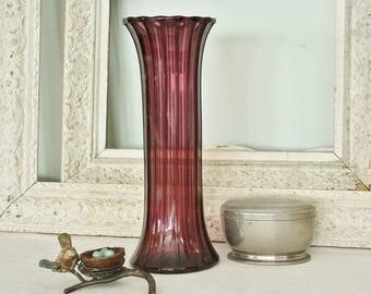 Vintage Blown Fluted  Amethyst Art Glass Vase