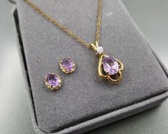 Avon Genuine Amethyst  Pendant  and Pierced earrings Set 1991 Victorian Styling Velvet Original box