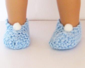 Blue Knit Slippers with White Pom Pom made to fit 18 inch American Girl Doll Clothes