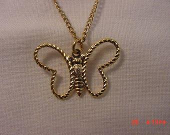 Vintage Butterfly Pendant Necklace  18 - 430