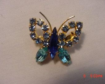 Vintage Rhinestone Butterfly Brooch   18 - 577