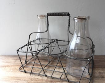 Vintage 1950's Wire Milk Bottle Carrier and Three Original Milk Bottles