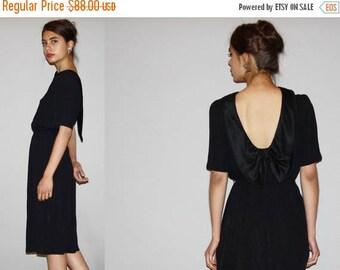On SALE 35% Off - 1980s Backless Little Black Dress LBD -  Backless Dress  -  Vintage Black Dress  - WD0868