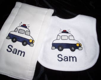 Police car baby bib and burp cloth set - Police personalized bib - car burp cloth - hero baby set - baby boy shower gift - personalized bib