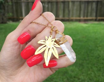 cannabis leaf and crystal point pendant, Mary Jane leaf jewelry , crystal necklace