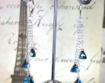 ON SALE Bermuda Triangle Earrings in Bermuda Blue - Swarovski Crystal And Sterling Silver