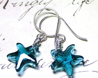ON SALE Starfish Earrings in Indicolite Blue - Wire Wrapped Swarovski Crystal Starfish Earrings in Teal Blue - Handmade Sterling Silver Earw