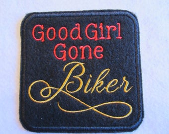 Embroidered Good Girl Gone Biker Iron On Patch, Biker Patch, Motorcycle Patch, Iron On Patch, Biker