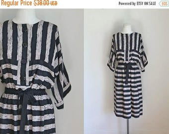 20% off SALE vintage 1980s dress - BIRCH WOOD striped shirtwaist dress / M/L