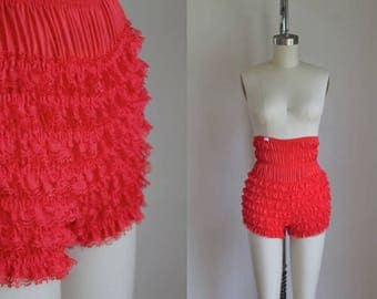 vintage bloomers - RUFFLES red lace high waist dancing knickers / XS-S
