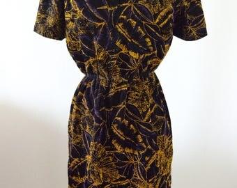 Dark Purple VELVET 80s glitter Metallic Jacquard brocade sequined cocktail evening dresse Medium