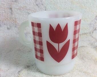 20% SALE 1960s Termocrisa Milk Glass Fire King Red Tulip Pattern
