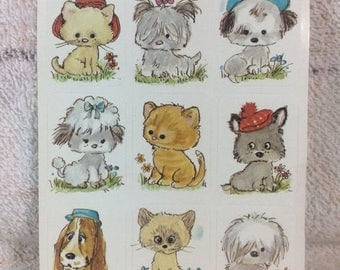 20% SALE Vintage Animal Sticker Sheet Adorable Cats and Puppies Kittens Cute Collectible Kids Sticker Collection
