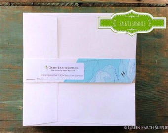 "OVERSTOCK:  100 5.25"" white square envelopes, 5 1/4"" squared recycled envelopes, sale, eco-friendly envelopes"