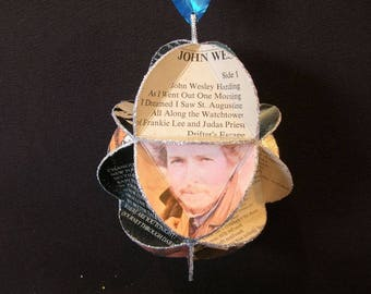 Bob Dylan Ornament Made From Album Covers - Repurposed Record Jackets - Folk Rock Music