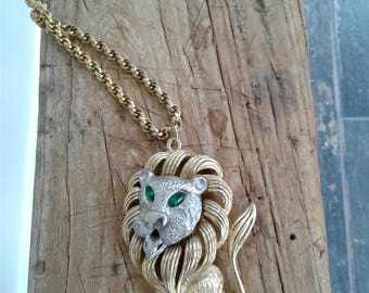 60s LION NECKLACE—Oversized—Silver and Gold—Green Rhinestone Eyes—Rope Chain—Nice and Weighty