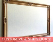 CUSTOM ORDER for Tatum - Cork Board with Lace Fabric in Antique Gold