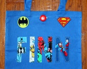 Boy's Large Personalized Tote (with button closure) - super hero, batman, spiderman, superman, birthday party,  gift, boys, school, tote