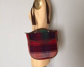 25% OFF SALE... SALE...90s plaid woven tote | double handle artist tote