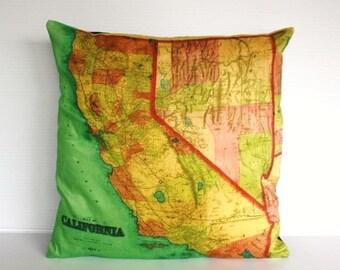 SALE SALE SALE Cushion cover pillow California  map cushion decorative pillow cushion cover, pillow case, map cushion,