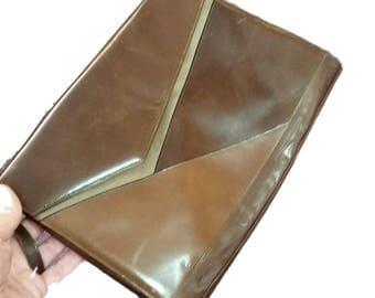 Vintage Purse Bally Made in Italy Brown Leather Envelope Clutch w Optional Strap 70's Fashion Handbag Slim Crossbody