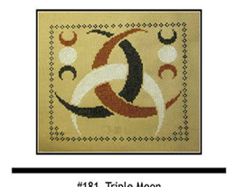 PDF E pattern emailed Triple Moon Sampler Wiccan Cross Stitch Pattern Sampler 181