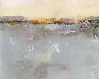 Abstract Seascape Original Painting in Frame - Inverness 3 9 x 12