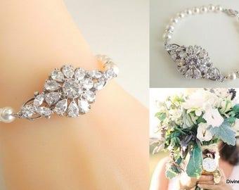 bridal bracelet, Pearl Bracelet, Bridal Rhinestone Bracelet, pearl rhinestone bracelet, crystal bridal bracelet, statement bracelet, AUBREE