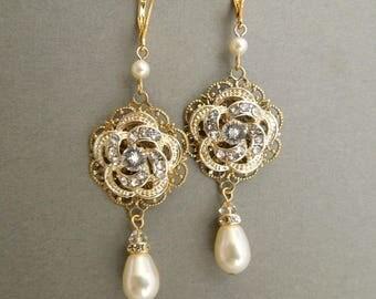 bridal earrings, pearl earrings, Wedding Earrings, Rhinestone Wedding Earrings, bridal Chandeliers earrings, swarovski earrings, ROSELANI