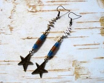 Blue, Tan and Brass Lightning Bolt and Star Boho Earrings (3598)
