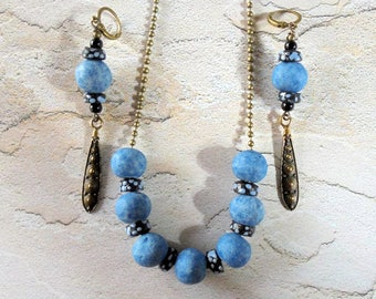 Blue and Black Ethnic Neckace and Earrings (4057)