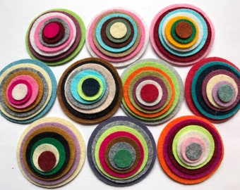 Wool Felt Circles Die Cut 70 total -  Sizes 2in - .5in Random Colored 4115 - Hair Clip Supply - Circle Die Cut - Merino Felt - DIY Felt