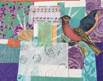 Singing Bird Collage Art