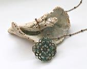 White Sea Glass Necklace - Vero Beach Sea Glass - Embellished Beach Glass Necklace - Vintaj Jewelry - Beach Jewelry