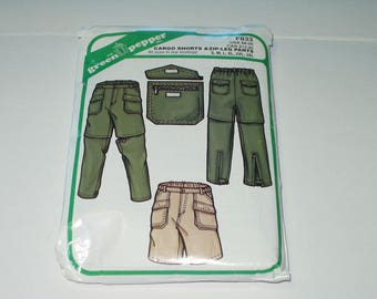 Green Pepper F833 Cargo Shorts and Zip Leg Pants Pattern Size s -3x Sewing Pattern DIY Home Sewing Crafting Retro Fashion