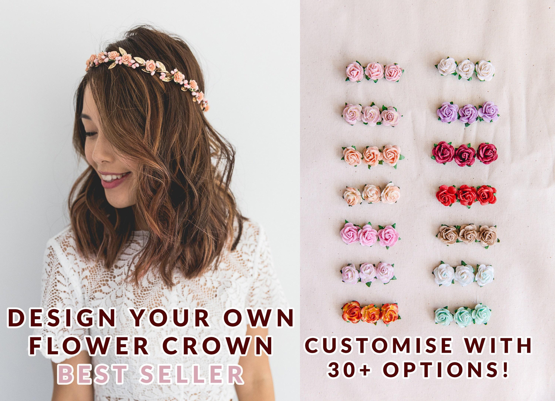 Hair accessories design your own childrens flower crown customise your own customisable flower girl izmirmasajfo