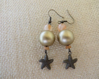 Peach And Gold Toned Drop Earrings With Starfish Charms