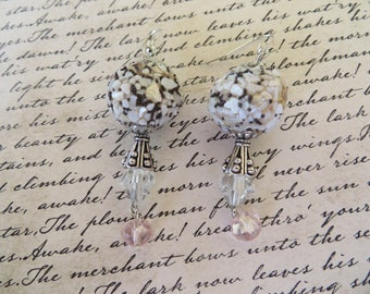 Dangling Earrings With Pastel Shell Crusted Beads And Crystals