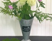 Ice Cream Cone Flower Bucket Vase Chalkboard Area Galvanized Tin Rustic Metal
