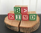 Custom Alphabet Blocks Wooden Letter Blocks Your Choice of Word or Name Child's Room Rustic Baby Shower Gift