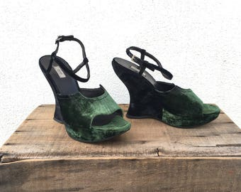 Prada Wedges Heels Gradient Emerald Green Crushed Velvet Sandals Made In Italy size 40