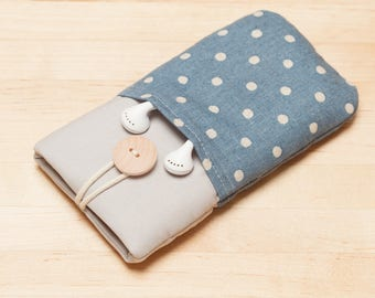 Huawei P10 sleeve, iPhone sleeve / Galaxy S8 case / Moto G5 sleeve / iPhone X case / iphone SE case / - Linen blue dots