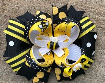 Bumble Bee Hair Bow yellow and black Hair Bow Black Yellow and White Hair Bow Large Hair Bow boutique Hair Bow