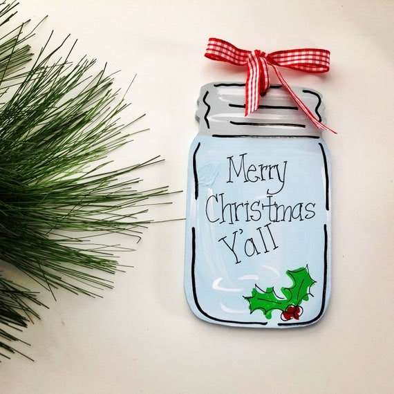 Personalized, christmas, mason jar ornament,  Hand painted ornament, christmas ornament, farmhouse christmas ornament, jar ornament