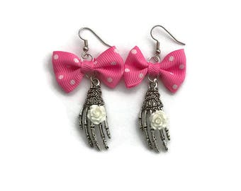 Pink Bow and Skeleton Hand Earrings - Halloween, Day of the Dead, Dia de los Muertos - Creepy Cute, Spooky, Bone Hand, Goth
