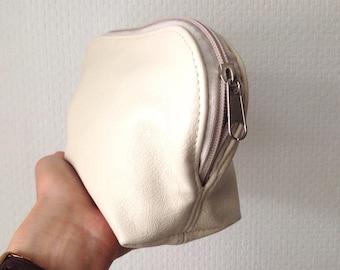 Cream Leather Make-Up Bag