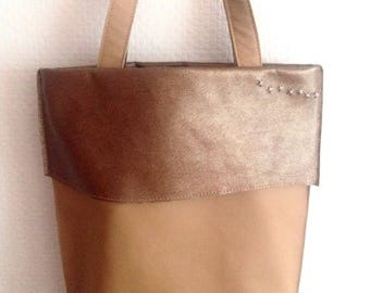 Brown & Pattern Leather Tote Bag