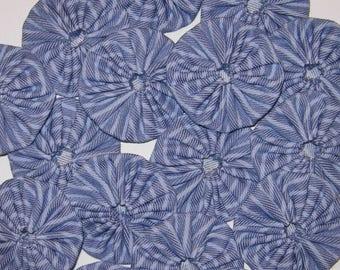 "Fabric YoYos, 16 Large Size Blue Striped Denim, 2-1/4"""